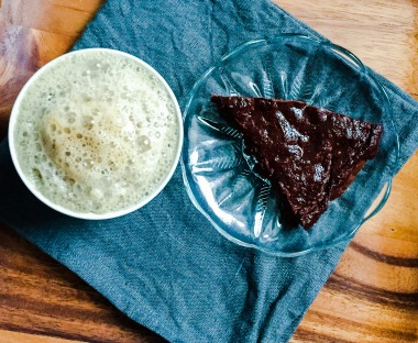 Brownie Pie with chaga-reishi latte
