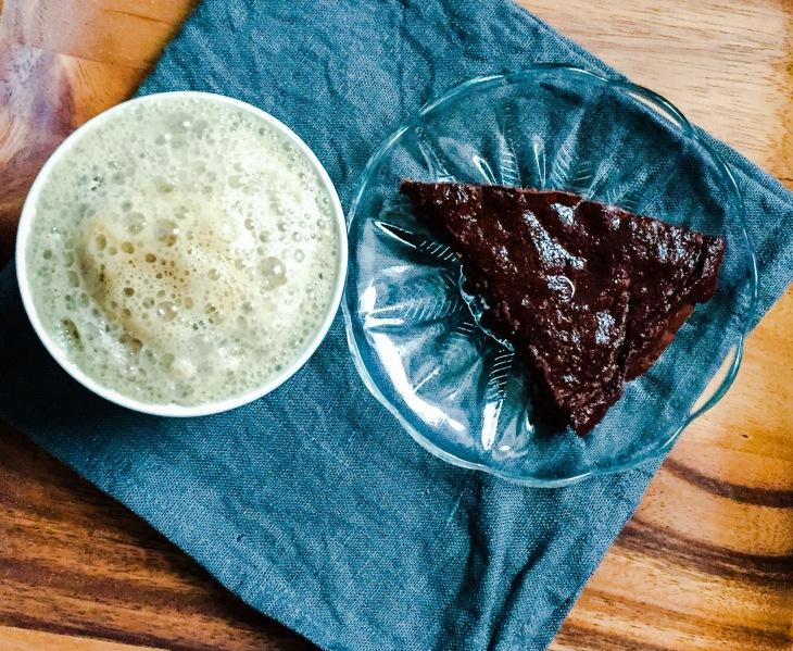 Brownie Pie with chaga-reishi latte